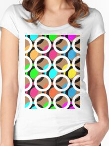 Ring and color abstract background pattern.  Women's Fitted Scoop T-Shirt
