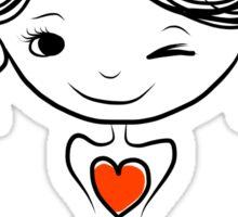 Cute girl smiling, sketch Sticker