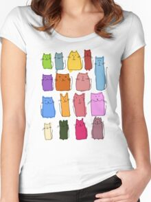 Cute cats, childish style. Women's Fitted Scoop T-Shirt