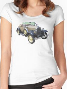 1931 Ford Model A Cabriolet Antique Car Women's Fitted Scoop T-Shirt