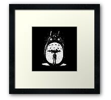 Raining Hard Totoro Framed Print