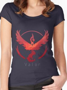 Team Valor Galaxy Print - Thin Text (Pokemon Go) Women's Fitted Scoop T-Shirt