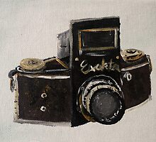 Exakta Vintage Film Photography Camera Contemporary Acrylic Painting  by JamesPeart