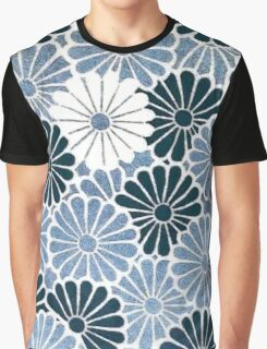 Retro Blue Chrysanthemum Floral Graphic T-Shirt