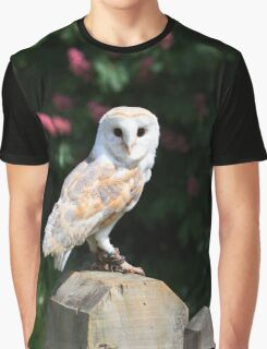 Barn owl on a fence post Graphic T-Shirt