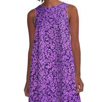 Vintage Floral Violet Amethyst Purple A-Line Dress