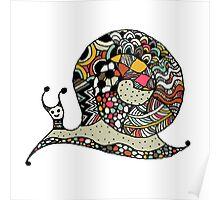 Art snail, ornate zentangle style Poster