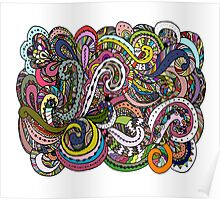Abstract hand drawn ornament, background Poster