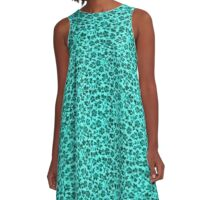 Vintage Flowers Turquoise Teal A-Line Dress