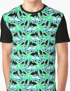 Palm, tree, surf, surfing, beach, sea, ocean, wave, Hawaii, playa, surfboard,  Graphic T-Shirt