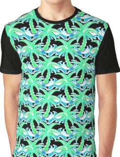 Palm, tree, surf, surfing, beach, sea, ocean, wave, Hawaii, playa, surfboard,  Graphic T-Shirt