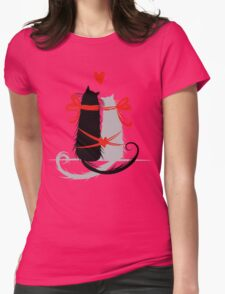 Couple of cats in love. Womens Fitted T-Shirt