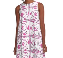 Vintage Leaf and Vines Pink and White A-Line Dress