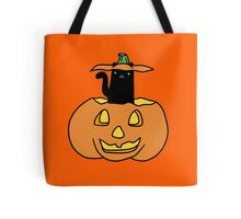 Black Cat inside Jack o' Lantern Tote Bag
