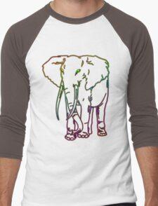 Rainbow Elephant Design Men's Baseball ¾ T-Shirt