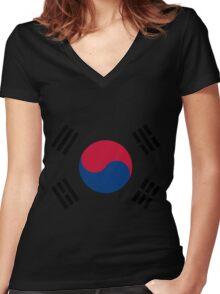Living Korea Flag Women's Fitted V-Neck T-Shirt