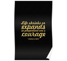 """Life shrinks or... """"Anals Nin"""" Inspirational Quote Poster"""