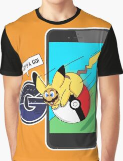 Let's a GO! Mario in Pokemon suit Graphic T-Shirt