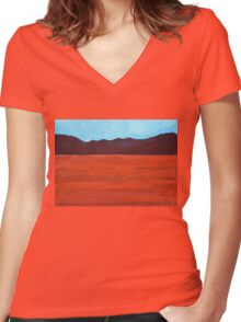 Silver Lake Evening original painting Women's Fitted V-Neck T-Shirt