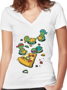 Pizza Lover Women's Fitted V-Neck T-Shirt
