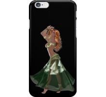 African American Arabic Brazilian Belly Dancer Woman with Red Curly Hair Wearing Green and Golden Belly Dance Clothing 'bedlah' iPhone Case/Skin