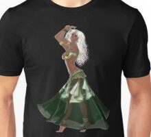 African American Arabic Brazilian Belly Dancer Woman with Blond Curly Hair Wearing Green and Golden Belly Dance Clothing 'bedlah' Unisex T-Shirt
