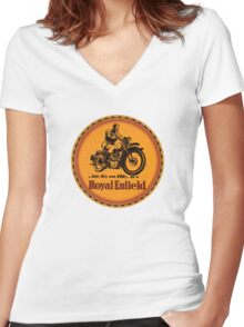 Royal Enfield vintage British Motorcycles Women's Fitted V-Neck T-Shirt