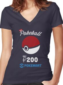 Pokemon Pokeball Pokemart Ad Women's Fitted V-Neck T-Shirt