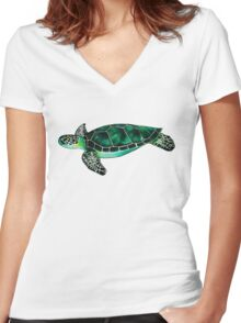 Sea Turtle Women's Fitted V-Neck T-Shirt