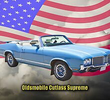 Oldsmobile Cutlass Supreme And American Flag by KWJphotoart