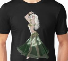 Pretty Blond American Brazilian Arabic  Woman with Beautiful Long and Curly Hair , Belly Dancer Wearing Golden and Green Belly Dance Clothing 'bedlah' Unisex T-Shirt