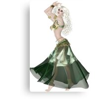 Pretty Blond American Brazilian Arabic  Woman with Beautiful Long and Curly Hair , Belly Dancer Wearing Golden and Green Belly Dance Clothing 'bedlah' Canvas Print