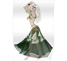 Pretty Blond American Brazilian Arabic  Woman with Beautiful Long and Curly Hair , Belly Dancer Wearing Golden and Green Belly Dance Clothing 'bedlah' Poster