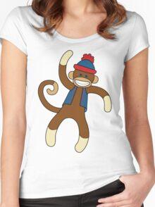 Super Cute Sock Monkey  Women's Fitted Scoop T-Shirt