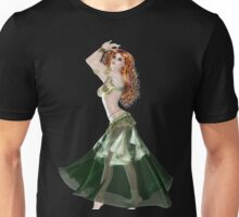 Pretty RedHead American Brazilian Arabic  Woman with Beautiful Long and Curly Hair , Belly Dancer Wearing Golden and Green Belly Dance Clothing 'bedlah' Unisex T-Shirt
