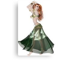 Pretty RedHead American Brazilian Arabic  Woman with Beautiful Long and Curly Hair , Belly Dancer Wearing Golden and Green Belly Dance Clothing 'bedlah' Canvas Print