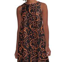 Vintage Swirl Floral Orange and Black A-Line Dress