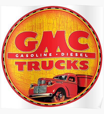 GMC vintage trucks USA Gasoline ~ Diesel Poster