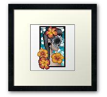 Skull mask hibiscus Framed Print