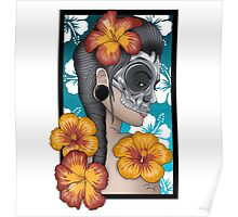 Skull mask hibiscus Poster
