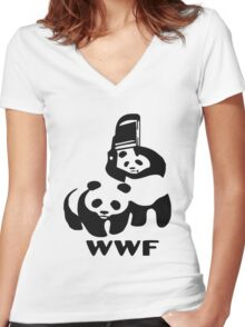 WWE pandas Women's Fitted V-Neck T-Shirt