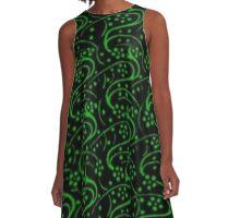 Vintage Swirls Floral Green and Black A-Line Dress