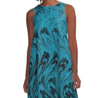 Vintage Waves Black and Turquoise Teal  A-Line Dress