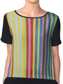 Colorful Retro Stripes Chiffon Top