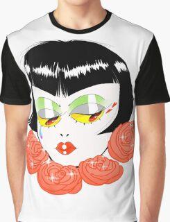 Bobbed Girlhead w Roses Graphic T-Shirt