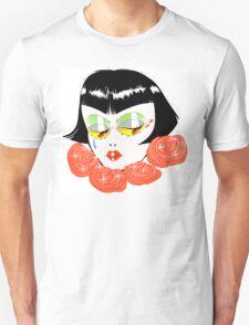 Bobbed Girlhead w Roses Unisex T-Shirt