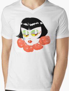 Bobbed Girlhead w Roses Mens V-Neck T-Shirt