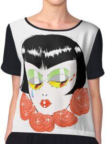 Bobbed Girlhead w Roses Chiffon Top