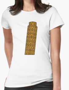 Geometric tower of Pisa in colour with black outline Womens Fitted T-Shirt
