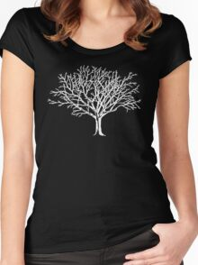 White Tree Cutout Women's Fitted Scoop T-Shirt